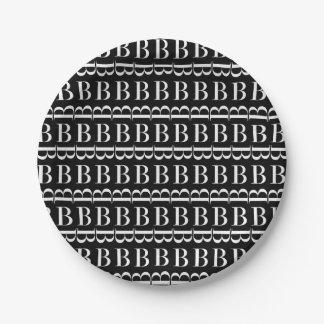 Monogramm-Anfangsmuster, Buchstabe B im Weiß Pappteller