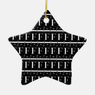 Monogramm-Anfangsmuster, Buchstabe F im Weiß Keramik Ornament