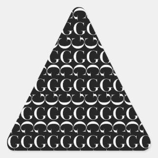 Monogramm-Anfangsmuster, Buchstabe G im Weiß Dreieckiger Aufkleber