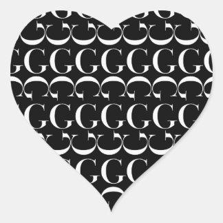 Monogramm-Anfangsmuster, Buchstabe G im Weiß Herz-Aufkleber
