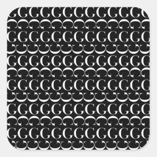 Monogramm-Anfangsmuster, Buchstabe G im Weiß Quadratischer Aufkleber