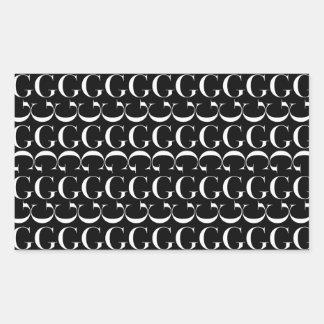 Monogramm-Anfangsmuster, Buchstabe G im Weiß Rechteckiger Aufkleber
