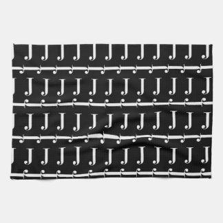 Monogramm-Anfangsmuster, Buchstabe J im Weiß Küchentuch