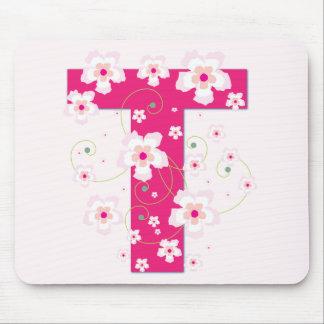 Monogramm Anfangst hübsches rosa Blumenmousepad Mousepads