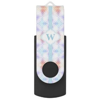 Monogramm-aquamarines Lavendel-Melone-Gelb USB Stick