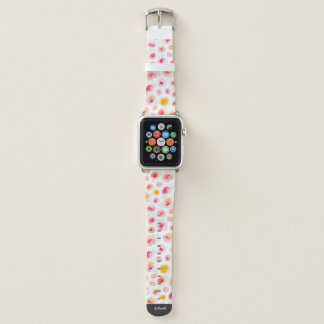Monogramm. Aquarell-Frühlings-Blumen Apple Watch Armband
