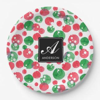 Monogramm-Aquarell punktiert Feiertags-Grün und Pappteller