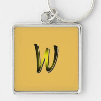 Monogramm auf gelbem quadratischem keychain schlüsselanhänger