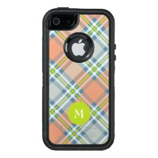 Monogramm auf Pfirsich und Blau mit Limonem OtterBox iPhone 5/5s/SE Hülle