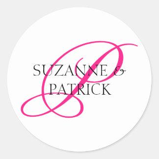 Monogramm-Aufkleber des Skript-P Pink Schwarzes