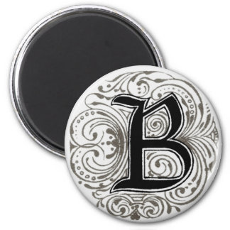 Monogramm ` B' im Grau - Magnet Runder Magnet 5,1 Cm