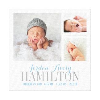 Monogramm-Baby-Foto-Collage eingewickelter Galerie Faltleinwand