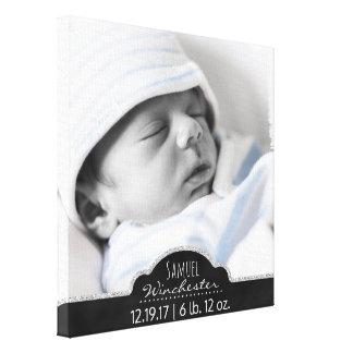 Monogramm-Baby-Foto-moderne Geburts-Mitteilung Leinwanddruck