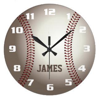 Monogramm-Baseball Große Wanduhr