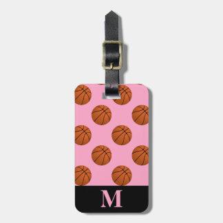Monogramm-Basketball-Bälle, Gartennelken-Rosa Kofferanhänger