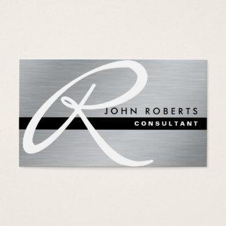Monogramm-berufliches elegantes modernes silbernes visitenkarten