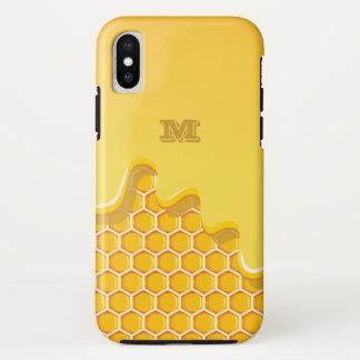 Monogramm. Bienenwabe mit goldenem iPhone X Hülle