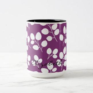Monogramm-Blatt-Muster-Tasse Zweifarbige Tasse