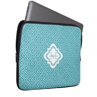 Monogramm-blaue griechische laptopschutzhülle