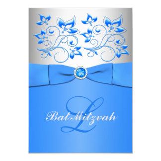 Monogramm-blaue silberne Blumenschläger Mitzvah 12,7 X 17,8 Cm Einladungskarte