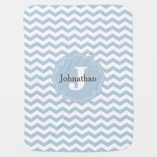 Monogramm-blauer Zickzack Baby-Decke