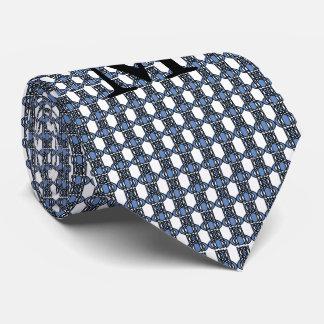 Monogramm-blaues abstraktes Scarabäus-Muster Krawatte