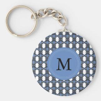 Monogramm-blaues abstraktes Scarabäus-Muster Schlüsselanhänger