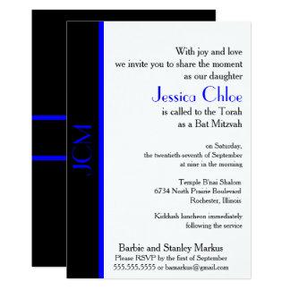 Monogramm-blaues Schwarz-Schläger Mitzvah Karte