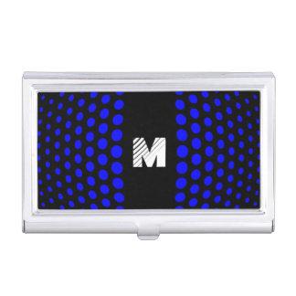 Monogramm-blaues Tupfen-Muster Visitenkarten Etui