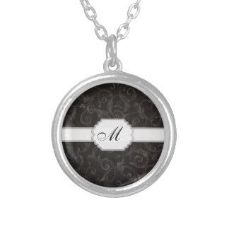 Monogramm-Blumendruck Halskette Mit Rundem Anhänger