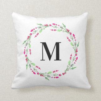 Monogramm-BlumenKranz-Kissen Kissen