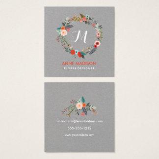 Monogramm-BlumenKranz-Quadrat Quadratische Visitenkarte
