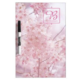 Monogramm-Brautjungfer blaß - rosa Kirschblüten Memoboard