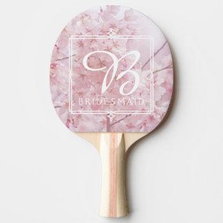 Monogramm-Brautjungfer blaß - rosa Kirschblüten Tischtennis Schläger