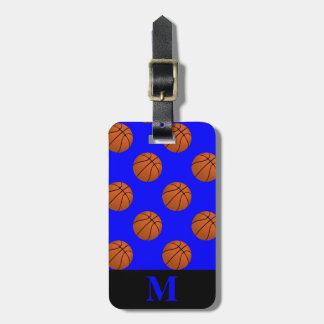 Monogramm-Brown-Basketball-Bälle auf Blau Kofferanhänger