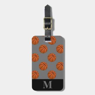 Monogramm-Brown-Basketball-Bälle auf Grau Kofferanhänger