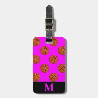Monogramm-Brown-Basketball-Bälle auf Rosa Gepäckanhänger