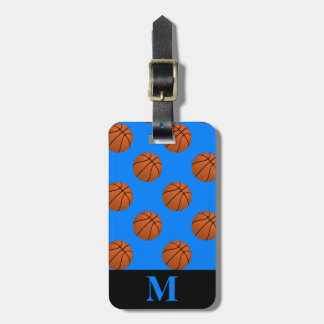 Monogramm-Brown-Basketball-Bälle, azurblaues Blau Kofferanhänger