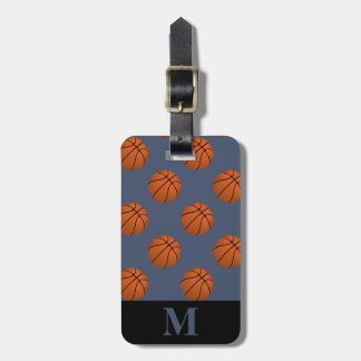 Monogramm-Brown-Basketball-Bälle, Blue Jeans Gepäckanhänger