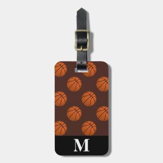 Monogramm-Brown-Basketball-Bälle, Brown Gepäckanhänger