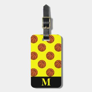 Monogramm-Brown-Basketball-Bälle, gelb Gepäckanhänger