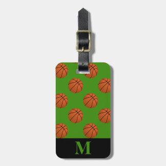 Monogramm-Brown-Basketball-Bälle, grün Gepäckanhänger