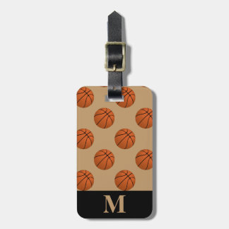Monogramm-Brown-Basketball-Bälle, Kamel Brown Kofferanhänger
