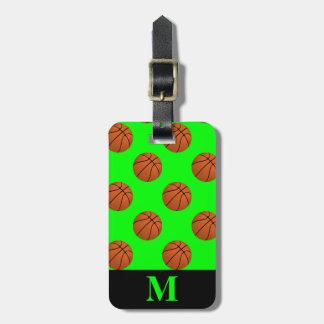 Monogramm-Brown-Basketball-Bälle, Limones Grün Gepäckanhänger