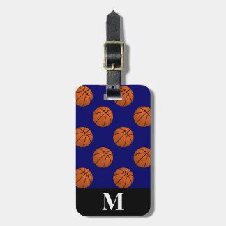 Monogramm-Brown-Basketball-Bälle, Marine-Blau Kofferanhänger