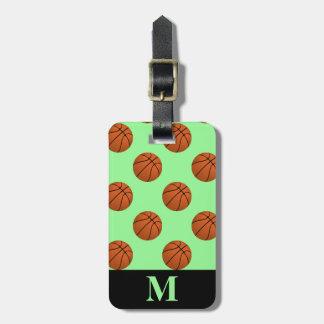 Monogramm-Brown-Basketball-Bälle, Minzen-Grün Kofferanhänger