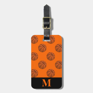 Monogramm-Brown-Basketball-Bälle, orange Gepäckanhänger