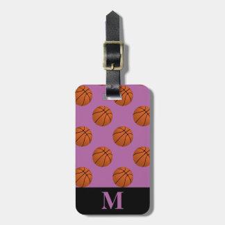 Monogramm-Brown-Basketball-Bälle, Orchidee Gepäckanhänger