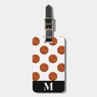 Monogramm-Brown-Basketball-Bälle, weiß Kofferanhänger