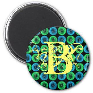 Monogramm-Buchstabe B blauer und grüner Löwenzahn- Runder Magnet 5,7 Cm